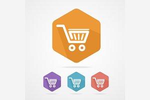 Flat Shopping Basket Icon Set