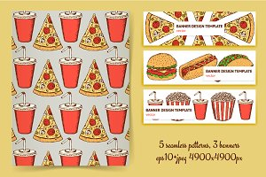 Fast food patterns and banners