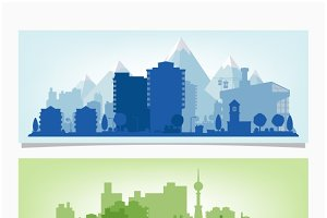 horizontal banners of cityscape