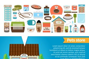 Pets accessories and vet store