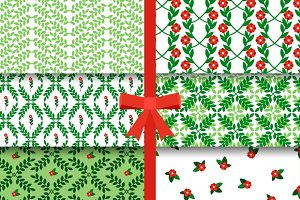 Red green flowers seamless pattern