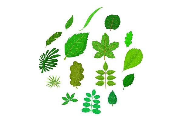 Green Leafs Icons Set Cartoon Style Pre Designed Illustrator Graphics Creative Market