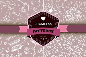 Set of 4 romantic seamless patterns