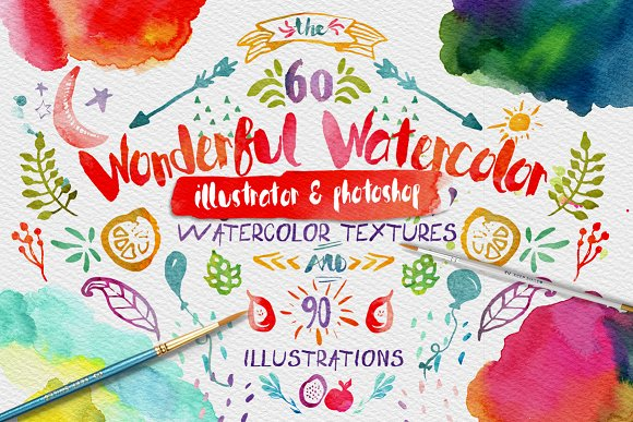 wonderful watercolor design pack textures creative market