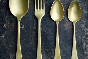 Golden spoons and fork