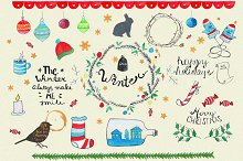 Christmas set elements,winter.