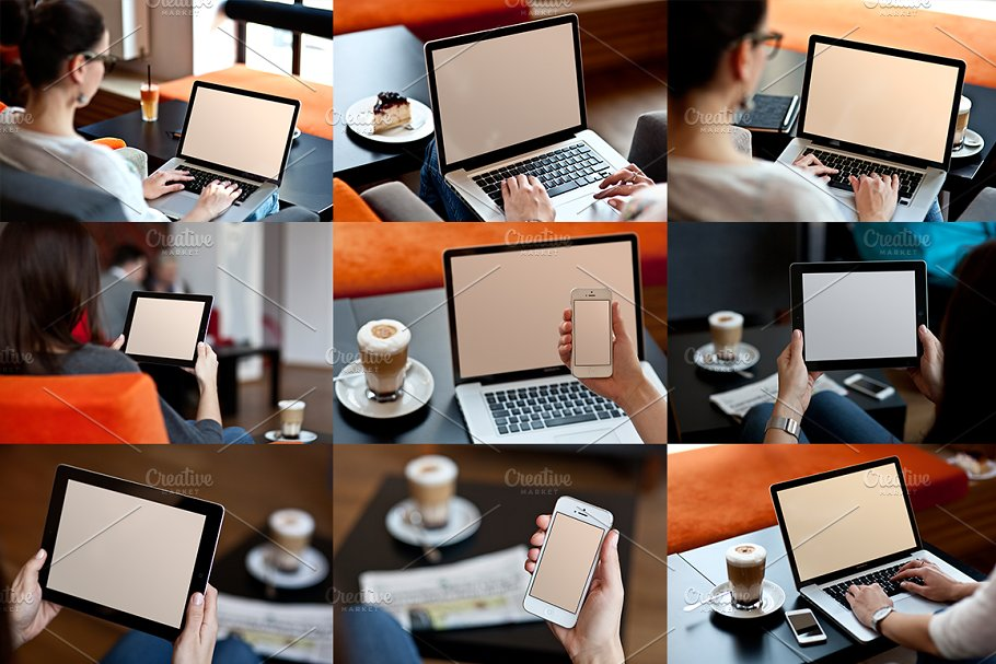 9 photo mock-ups - devices in Mobile & Web Mockups - product preview 4