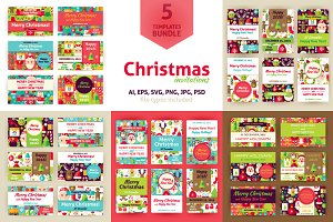 Merry Christmas Vector Invitations