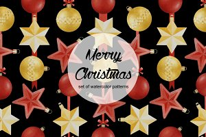 Set of Christmas watercolor patterns