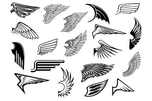 Heraldic vintage wings set