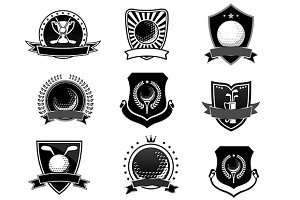 Golf sports emblems and symbols set