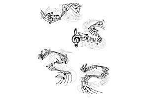 Music notes on swirling staves