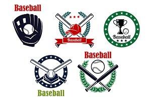 Baseball heraldic emblems set