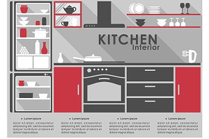Kitchen Interior flat design with lo