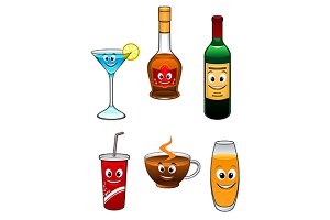 Drinks and beverage cartoon characte