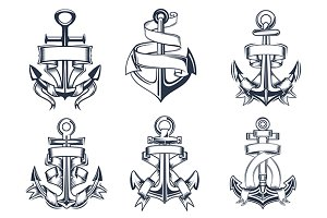 Marine themed ships anchor icons wit