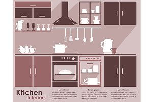 Kitchen interior flat infographic de