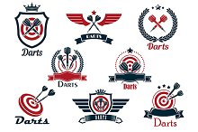 Darts heraldic sports emblems and sy