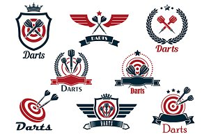 Darts heraldic sports emblems and sy