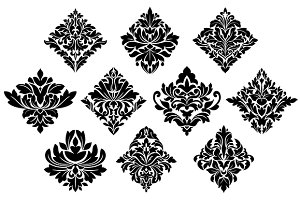 Black and white damask arabesque