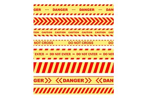 Warning, danger and caution tapes or
