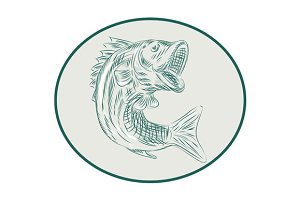 Largemouth Bass Fish Oval Etching