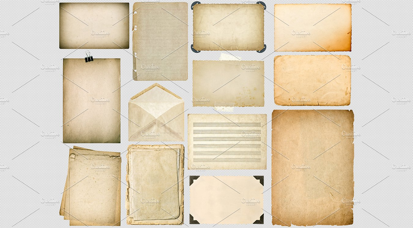 Old Paper Sheets With Edges PNG Objects Creative Market