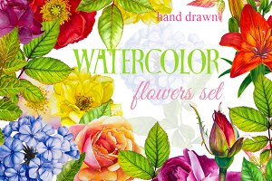 Watercolor flowers hand drawn set