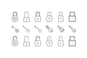 Line lock and key icons