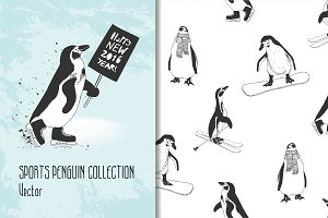 Winter sports penguins. Vector