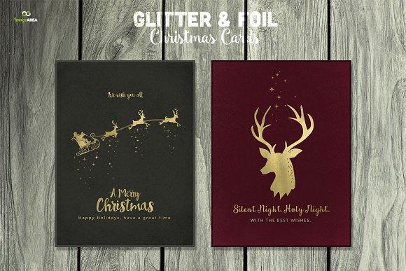 9 hot foil christmas cards psd - Foil Christmas Cards