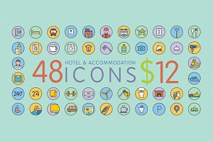 48 Hotel & Accommodation Icons