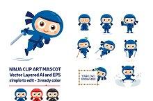 Ninja Vector Mascot in 3 Ready Color