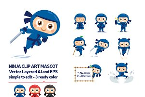Ninja Vector Mascot in 3 Ready Color