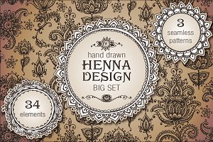 Henna design elements set