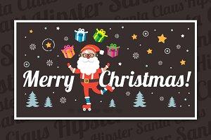 Hipster Santa Claus Vector Clip Art