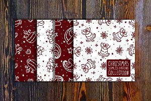 Handdrawn christmas patterns