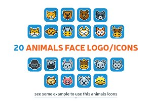 20 Animal Face Logo/Icons Bundle