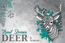 Hand drawn vector ornate horned deer