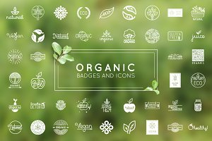 Organic, natural and vegan badges