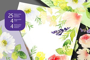 Watercolor Flowers DIY Graphics Set