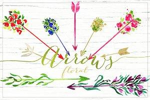 Arrows floral. Valentine clipart.