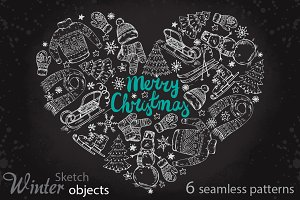 Set of sketch winter holiday objects