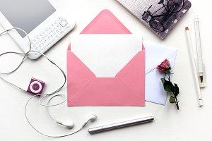 Stylish Mockup with Pink Envelope
