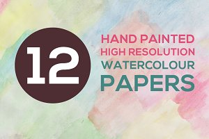12 Hand Painted Watercolour Papers