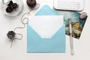 Stylish Mockup with Blue Envelope