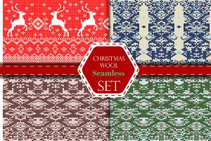 Christmas wool seamless pattern  set