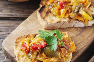 Vegeterian italian bruschetta with v