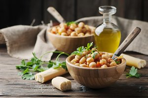 Vegeterian cooked chickpea