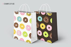 Seamless pattern of tasty donuts.